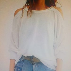 """FreePeople White """"Chill Out"""" Open Shoulder Top NWT"""